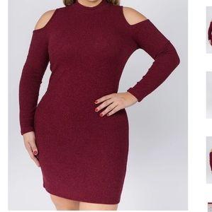 Red cold shoulder knit dress